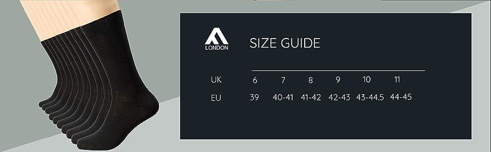 FM London Men's Smart Dress Sock (Pack of 10) Size List