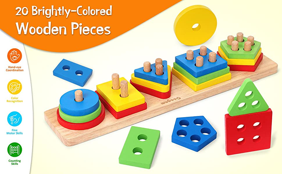Wooden Sorting Stacking Toys, Shape Color Recognition Blocks Matching Puzzle