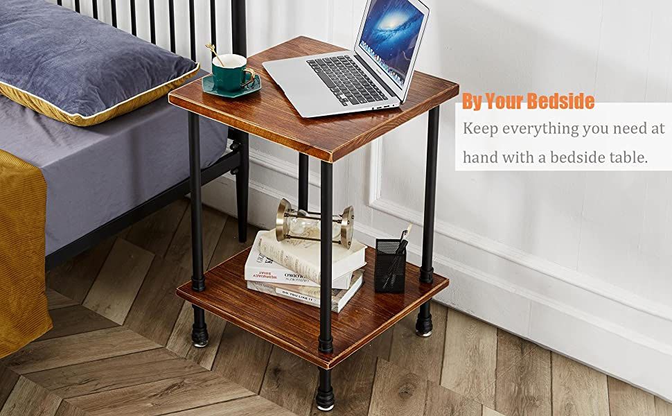 Give your living decor an industrial edge with this end table