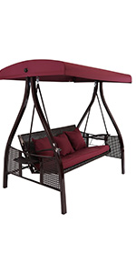 Sunnydaze 3-Person Aluminum Patio Swing with Side Tables and Canopy - Merlot