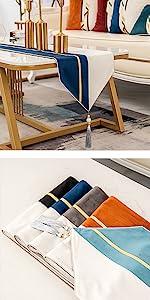 navy blue striped table runner