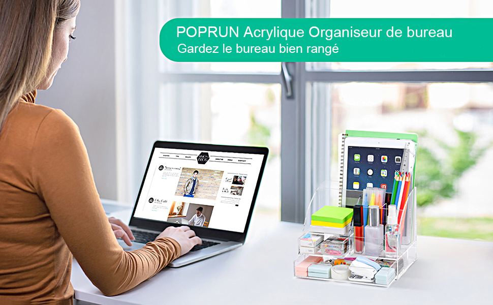 POPRUN Acrylique Organiseur de bureau