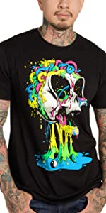 INTO THE AM model wearing black brain invader graphic tee