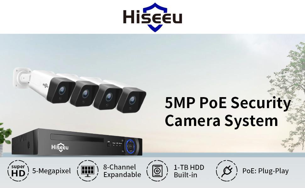 5MP PoE Security Camera System