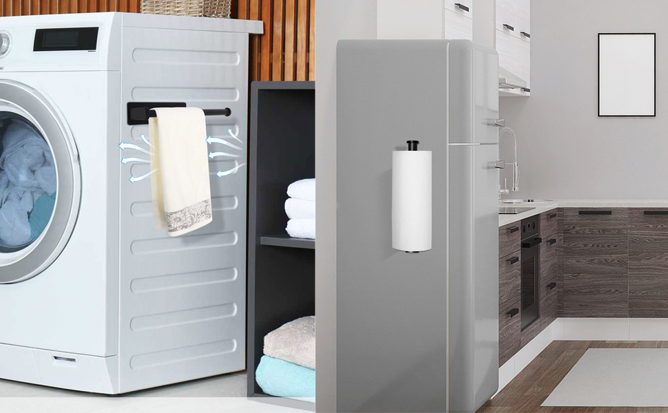 Paper Towel Holders Magnetic Steel Brushed Towel Roll Holders with Strong Magnetic Backing