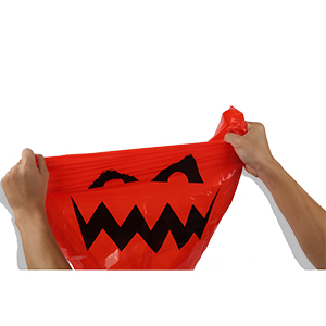 The Halloween plastic leaf bags are made of quality LDPE material