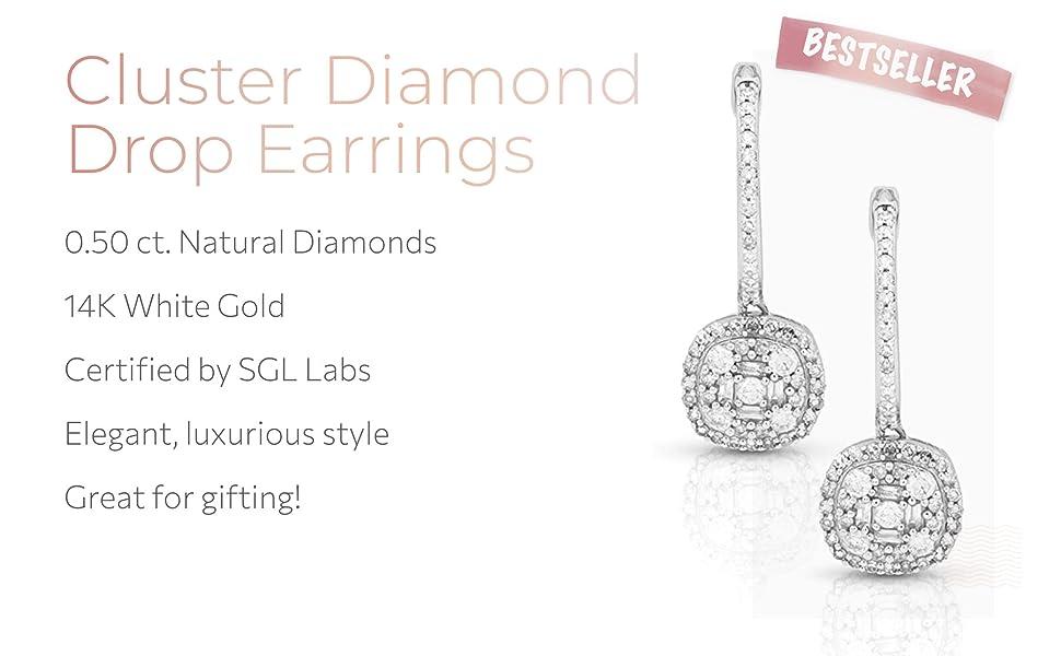 Cluster Diamond Drop Earrings
