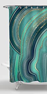Gibelle Green Marble Shower Curtain