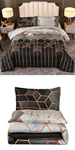 Grey Geometric Comforter Set