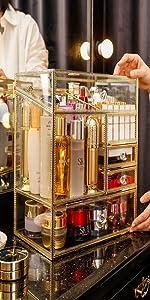 Glass Makeup Organizer