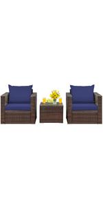 3-Piece Patio Furniture Set Rattan Wicker Sofa Set