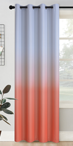 Grommet Greyish White to Coral  Ombre Room Darkening Ombre Curtains