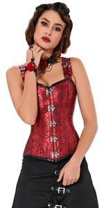 Red Steampunk Corset with Shoulder Straps