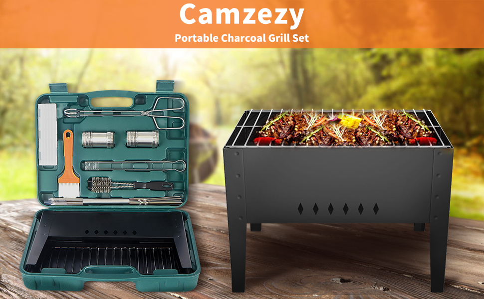 Foldable barbecue grill set