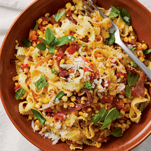 "Tagliatelle with Corn, Tomatoes, ""Onion-Bacon"" & Basil"