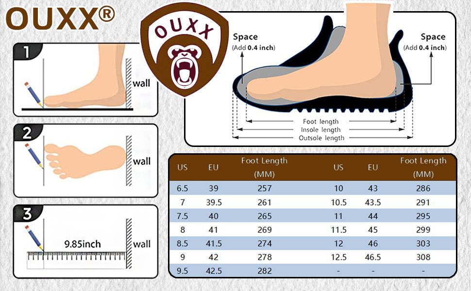 OUXX Work boots size chart