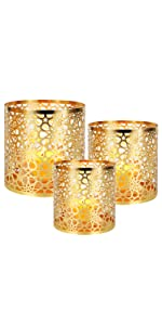 Gold Sunflower Pattern Candle Holder
