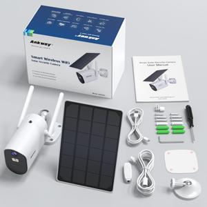 solar camera package list includes solar camera , solar panel, accessories bags