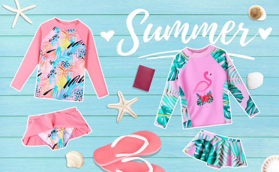 girls rash guard swimwear long sleeve