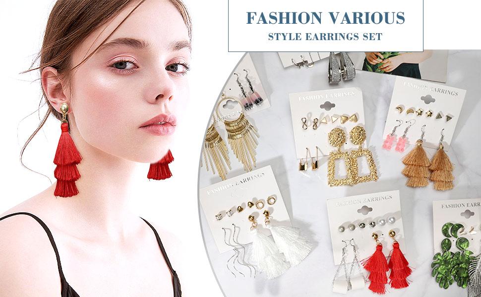 Fashion Earrings for Women Girls, 47 Pairs Drop Dangle Earrings for Party Jewelry Gift
