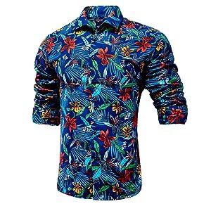 Menamp;amp;#39;s Floral Regular Fit Long Sleeve Casual Button Down Dress Shirt