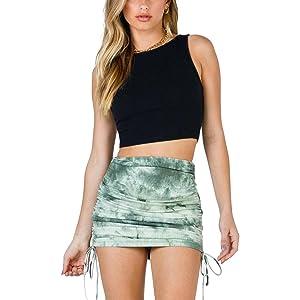 SK321 mini skirt Tie dye green