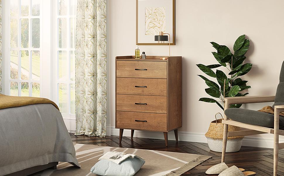 4-Drawer Dresser with 4 Set Foldable Drawer Dividers