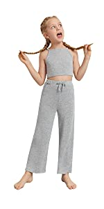 Romwe Gril's Sleeveless Basic Cami Crop Top and Sweatpants Set 2 Piece Outfit
