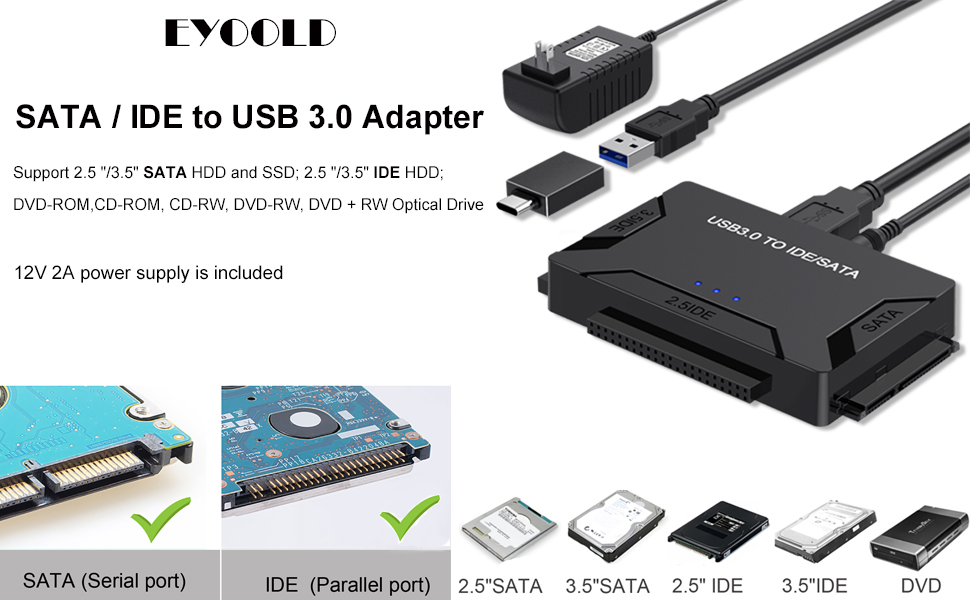 SATA/IDE to USB 3.0 Adapter Supports 2.5-Inch, 3.5-Inch, 5.25-Inch Hard Disk Drives