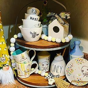 Mini ceramic birdhouse beehive tiered tray display
