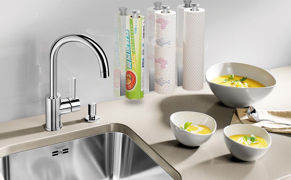Top-spring multi-usage paper towel rack