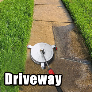 pressure washer surface cleaner cleans driveway