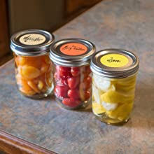 large color coding dots on mason jars, homemade, canned good, home organization
