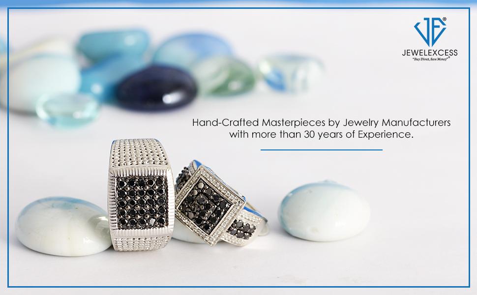 1.00 Carat Black Diamond Statement Rings in Sterling Silver