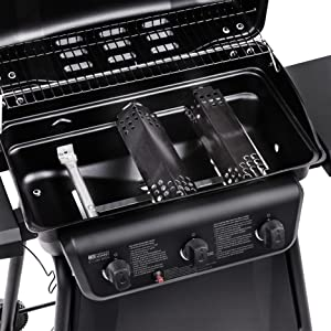 stainless;steel;burners;heat;tents;ignition;push;button;warming;rack;grates