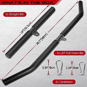 straight bar and lat pulldown bar