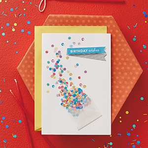 """""""Birthday Wishes"""" birthday card with confetti on a red background"""