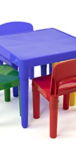 Primary colored plastic kids table and 4 chairs set