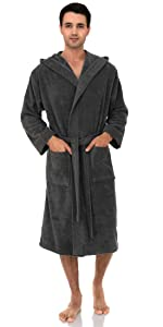 TowelSelections Mens Robe, Turkish Cotton Hooded Terry Bathrobe