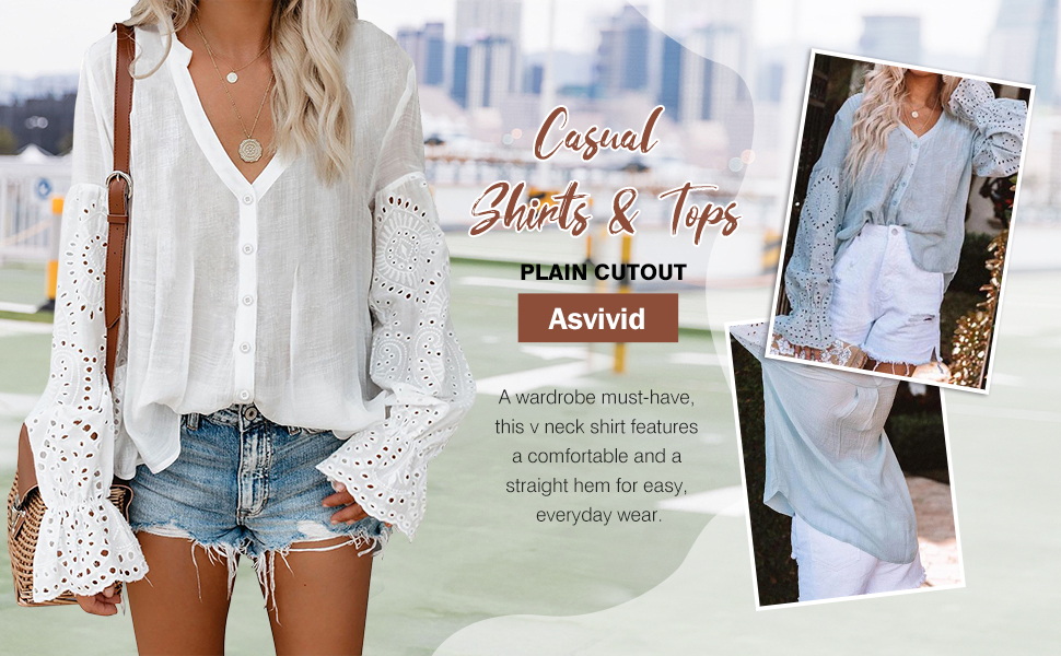 Women's V Neck Lace Crochet Flowy Bell Sleeve Button Down Casual T Shirts Blouses Tops