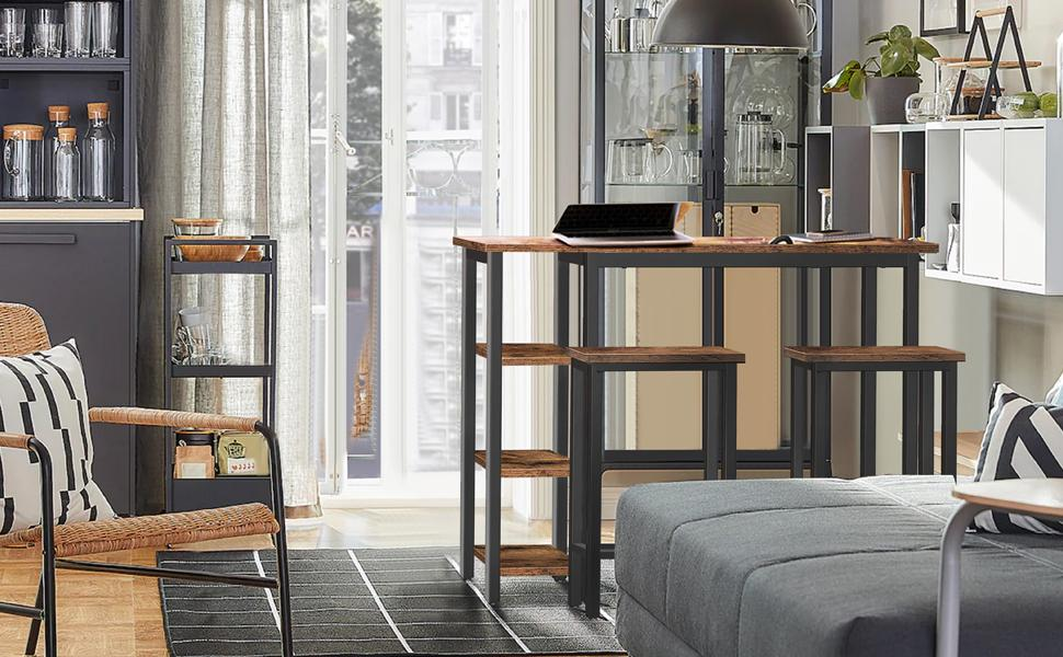Dining Table Set with 3 Open Storage Shelves