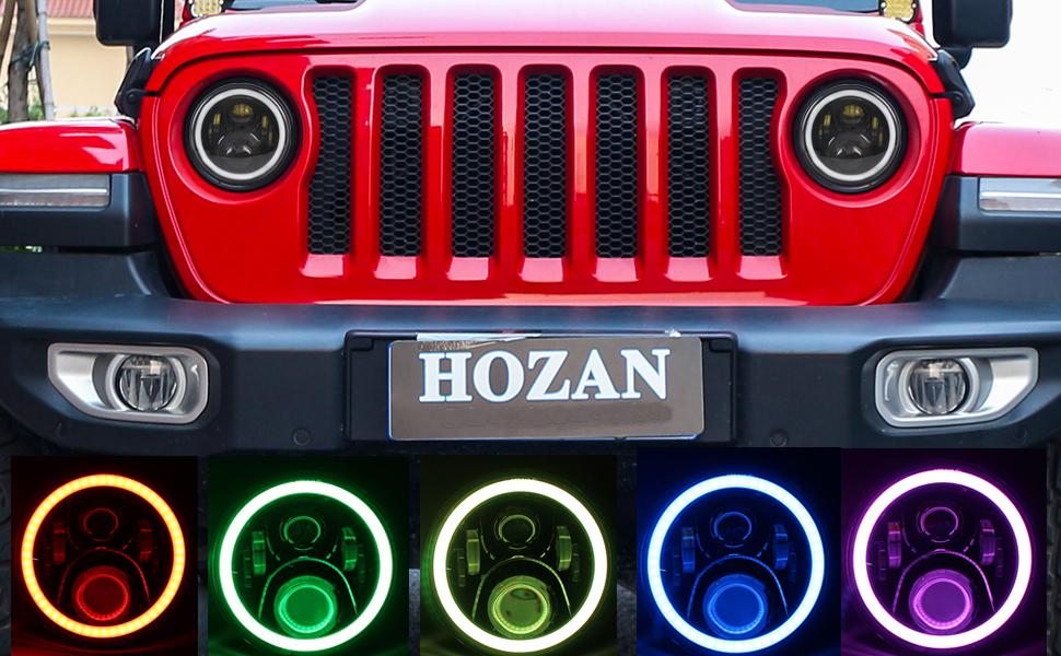 7inch RGB led Headlight with 9 inch round JL Headlight Mount Bracket