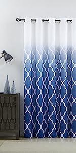 Blue GEO Ombre Sheer Door Curtains