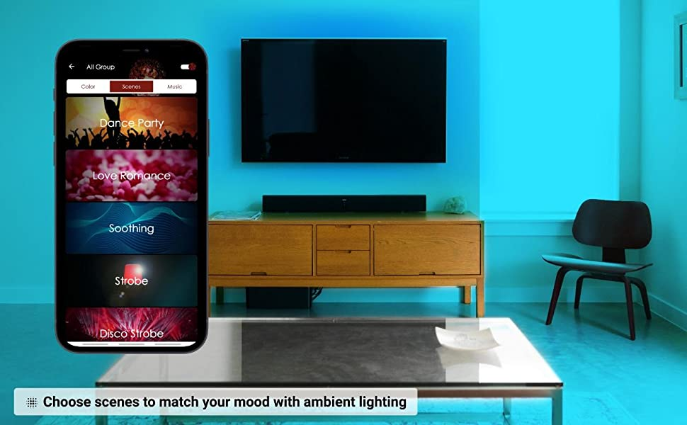 Choose scenes to match your mood with ambient lighting