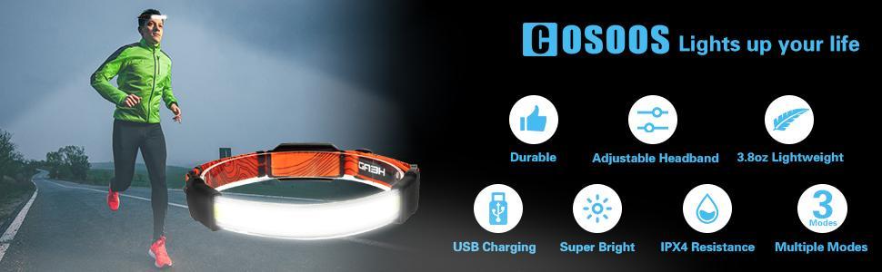 LED Broadbeam Headlamp lights up your surroundings headband light built to last user-friendly 3 mode