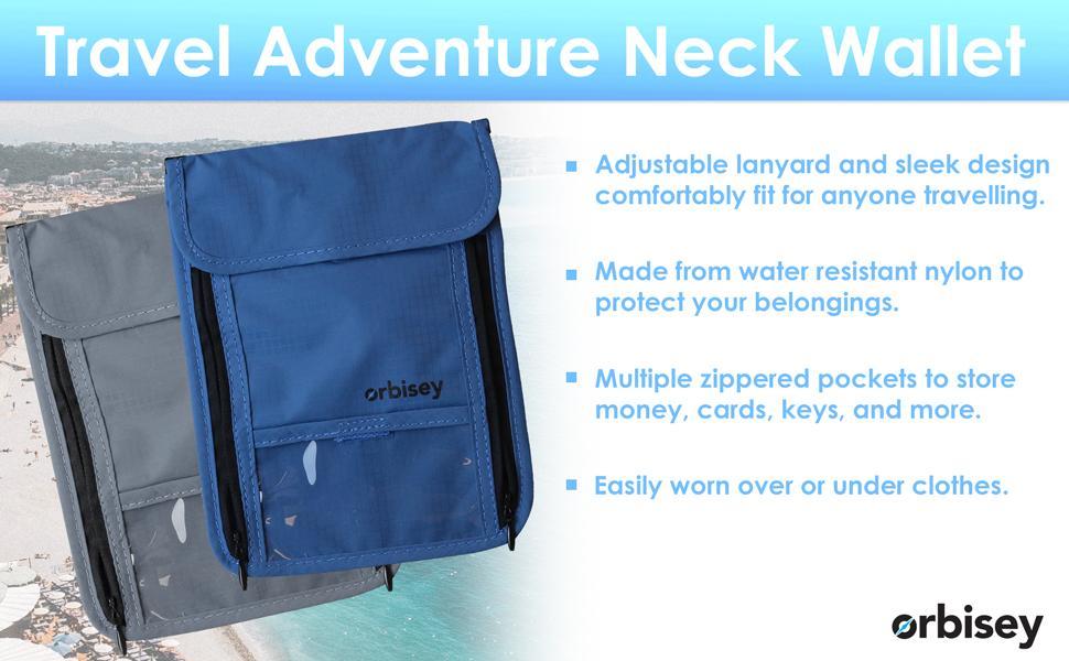 orbisey travel pouch hidden neck wallet passport id holder waterproof under shirt clothes