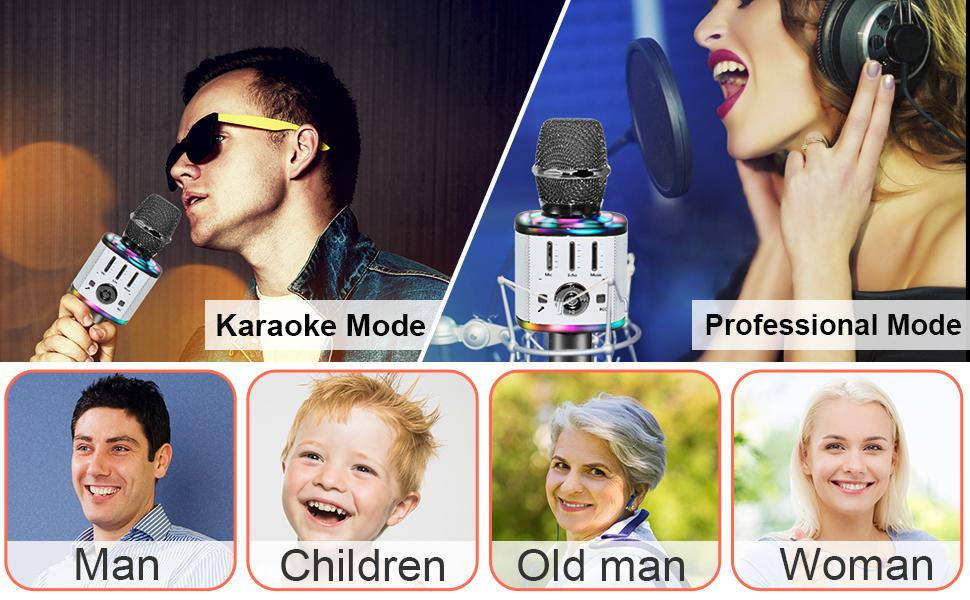Wireless Microphone Karaoke Portable Speaker Karaoke Machine Compatible with Android iOS Devices