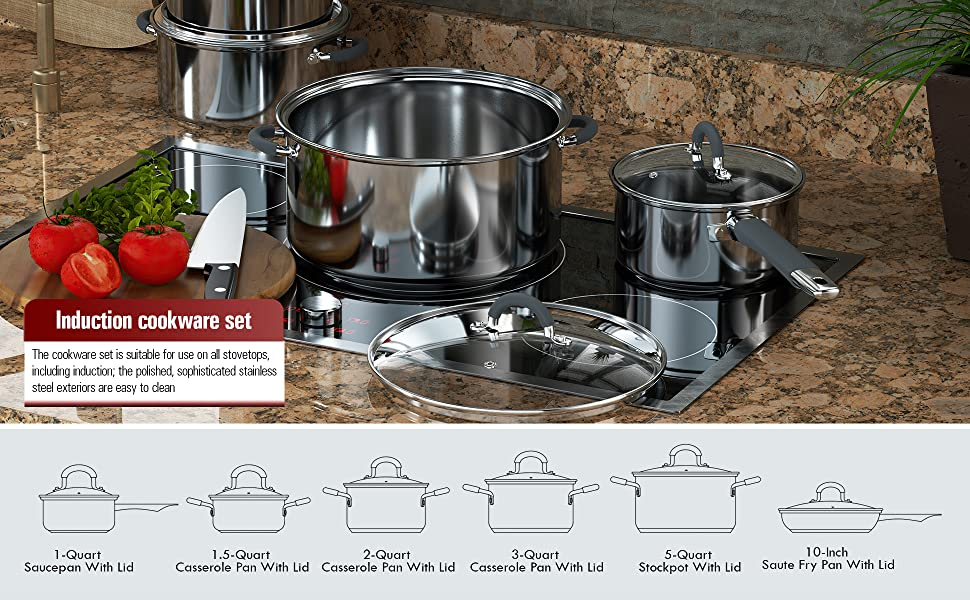 2410 Stainless Steel 12-Piece Cookware Set