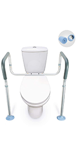 Compact Support Hand Rails for Bathroom Toilet Seat - Easy Installation for Handicap Senior Elderly