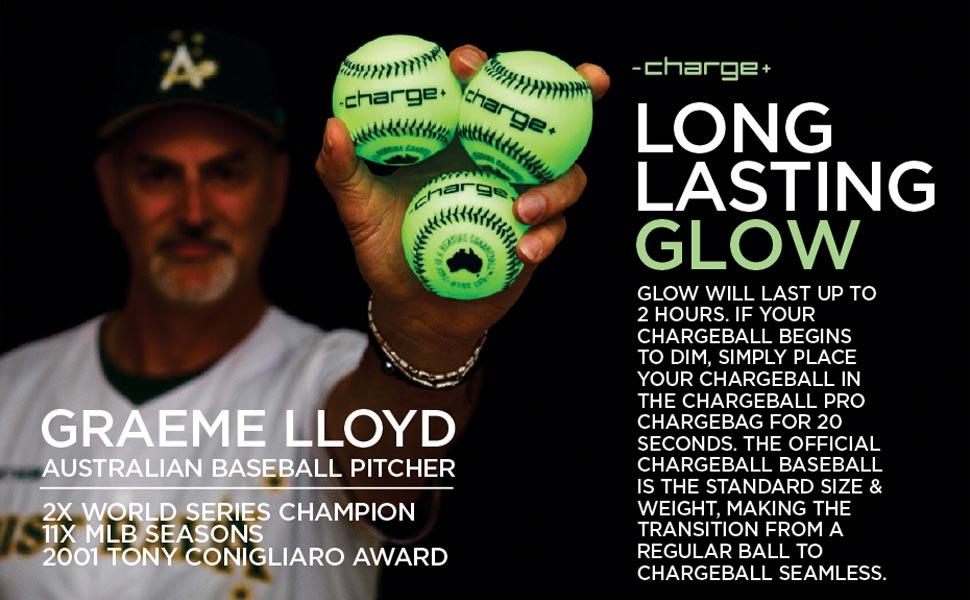 Long Lasting Glow - Chargeball Baseball - Standard Size amp; Weight